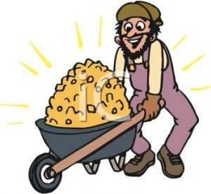 0511-0906-1700-5723_Miner_with_a_Wheelbarrow_Full_of_Gold_clipart_image